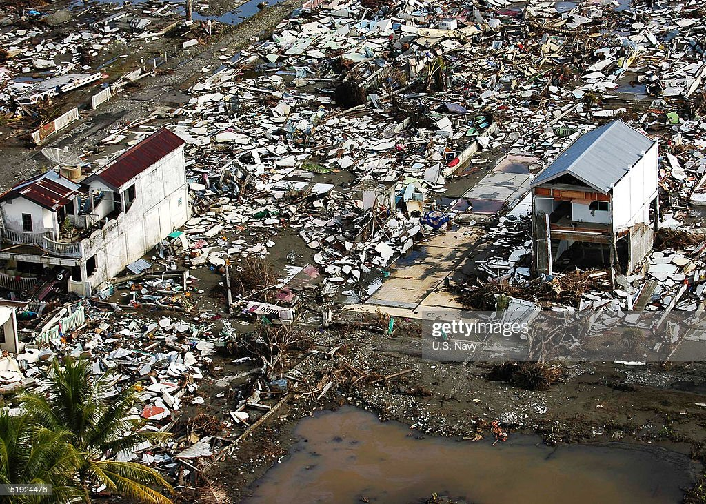 In this US Navy handout damage from the tsunami is seen from a US Navy helecopter January 6 2005 in Meulaboh Sumatra Indonesia According to reports...