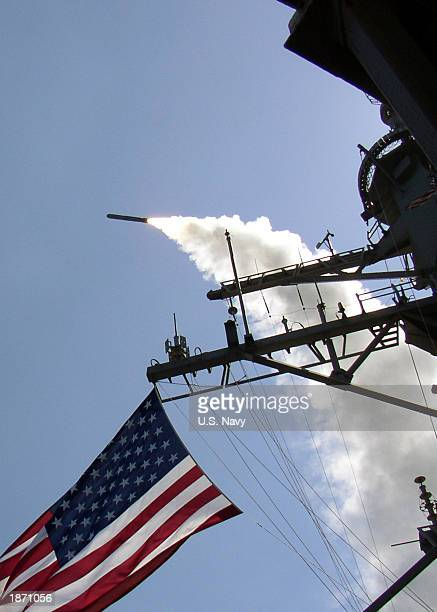 In this US Navy handout photo the guided missile destroyer USS Porter launches a Tomahawk Land Attack Missile toward Iraq during the initial stages...