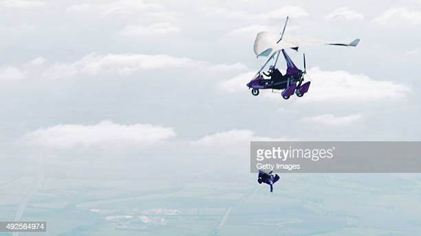 In this video screen grab provided by NatWest Worldrenowned stuntman Gary Connery disembarks a microlight at 6000ft whilst creating 'NatWest presents...