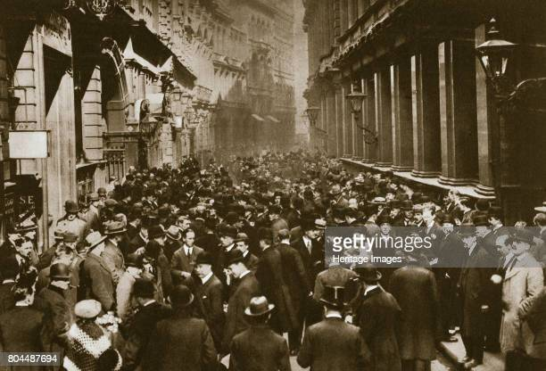 In Throgmorton Street beside the north wall of the London Stock Exchange 20th century Photograph taken looking east down Throgmorton Street towards...