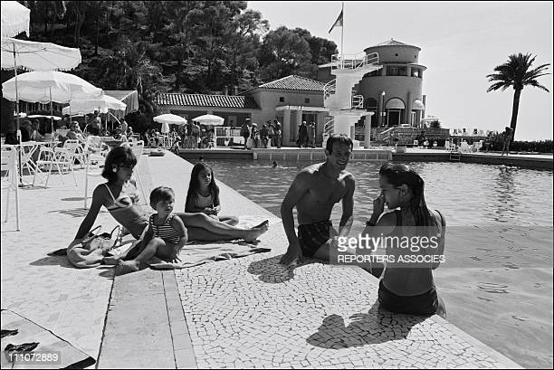 BELMONDO in VACANCY with FAMILY JeanPaul Belmondo wife Elodie and Paul Patricia Florence in France on July 15 1965