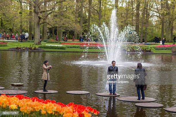 In water stepping stones at Keukenhof