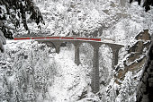 The Landwasser Viaduct is a single track limestone railway viaduct near Filisur in the canton of Graubünden, Switzerland. As part of the Albula line includes the structure to the UNESCO World Heritage