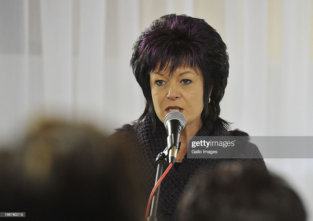 Ina Bonnette, who survived being gang raped in a gruesome attack allegedly orchestrated by her estranged husband Johan Kotze, speaks to women at the NG Kerk on September 9, 2010 in Bloemfontein, South Africa. Bonnette's son Conrad was also allegedly killed by Kotze.