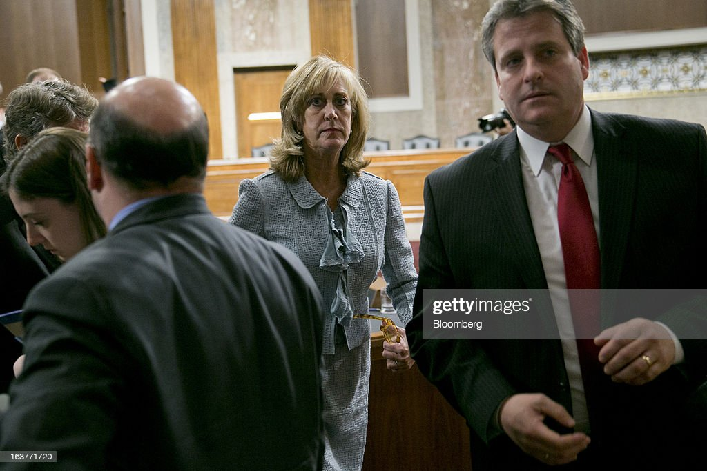 Ina Drew, former chief investment officer with JPMorgan Chase & Co., leaves following a Senate Permanent Subcommittee on Investigations hearing in Washington, D.C., U.S., on Friday, March 15, 2013. JPMorgan Chase, the biggest U.S. bank by assets, compensated chief investment office traders in a way that encouraged risk-taking before the unit amassed losses exceeding $6.2 billion, a Senate committee said. Photographer: Andrew Harrer/Bloomberg via Getty Images
