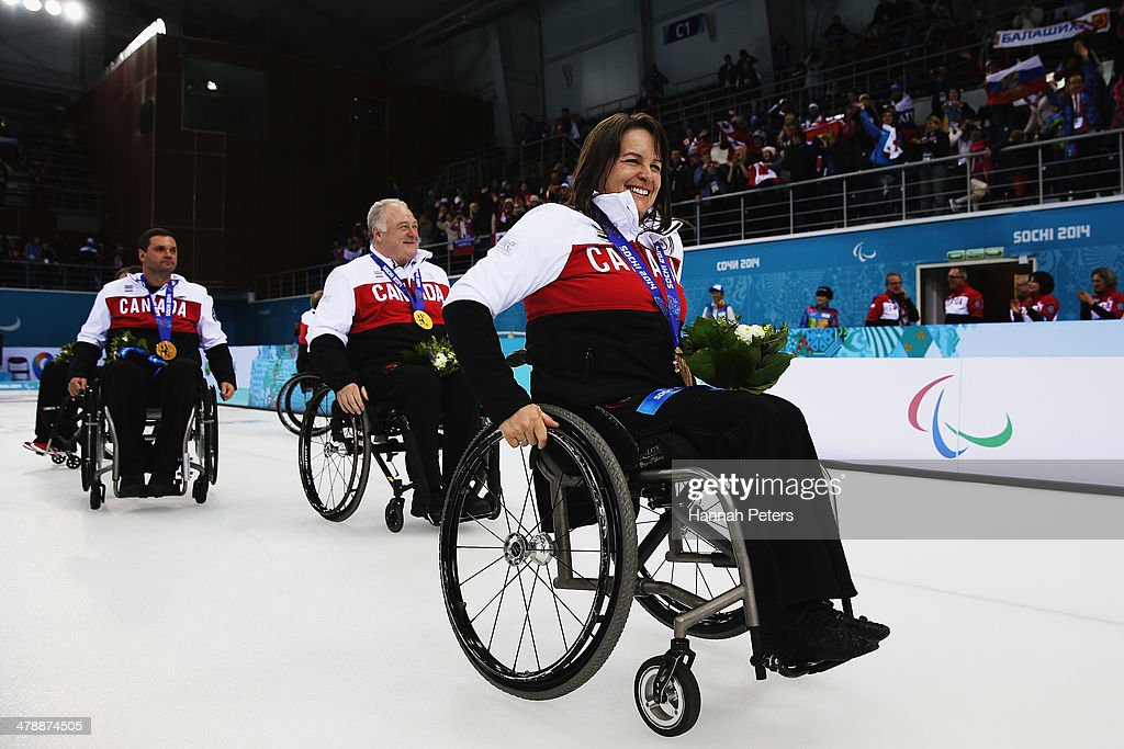 Ina Forrest of Canada celebrates after winning gold on day eight of Sochi 2014 Paralympic Winter Games at the Ice Cube Curling Center on March 15, 2014 in Sochi, Russia.