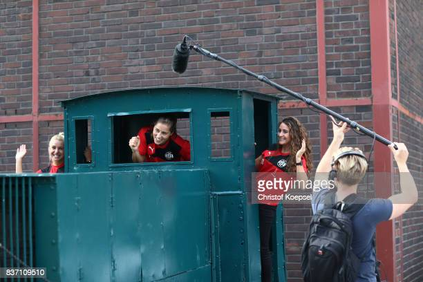 Ina Lehmann Lisa Weiss and Ramona Petzelberger during a general view behind the scenes of the Allianz Frauen Bundesliga Club Tour of of SGS Essen at...