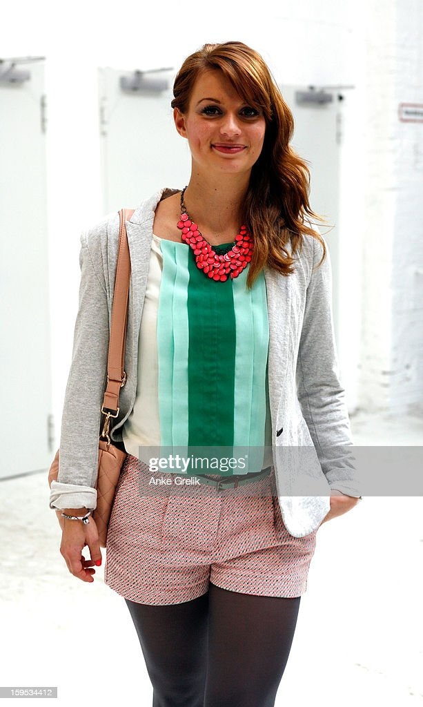Ina Wiefel wearing Mango shorts, H&M necklace attends Mercedes-Benz Fashion Week Autumn/Winter 2013/14 at venue on January 15, 2013 in Berlin, Germany.