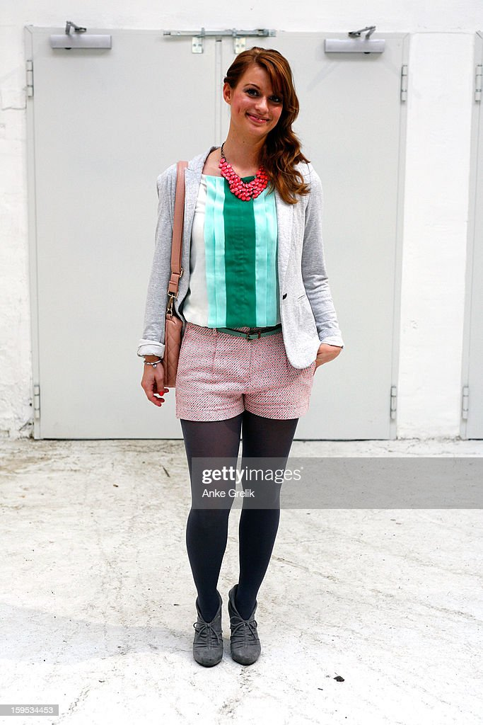 Ina Wiefel wearing Mango shorts, H&M necklace attends Premium at Mercedes-Benz Fashion Week Autumn/Winter 2013/14 at venue on January 15, 2013 in Berlin, Germany.