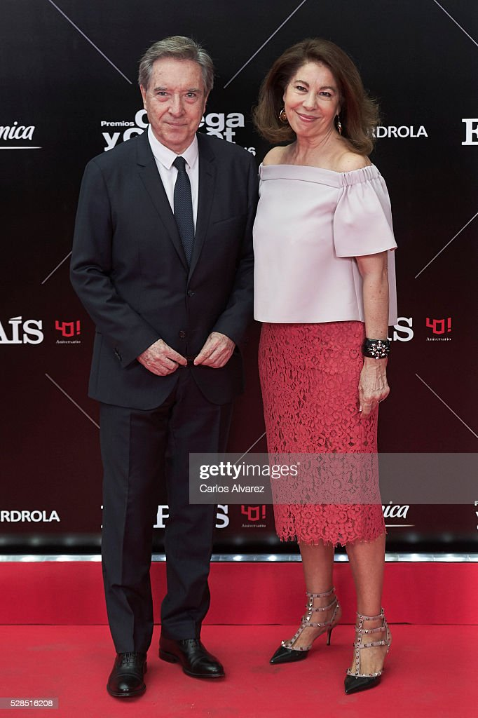 Inaki Gabilondo and wife Lola Carretero attend 'Ortega Y Gasset' journalism awards 2016 at Palacio de Cibeles on May 05, 2016 in Madrid, Spain.