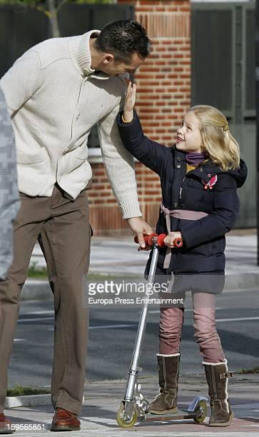 Inaki Urdangarin and his daughter Irene Urdangarin are seen on December 30 2012 in VitoriaGasteiz Spain