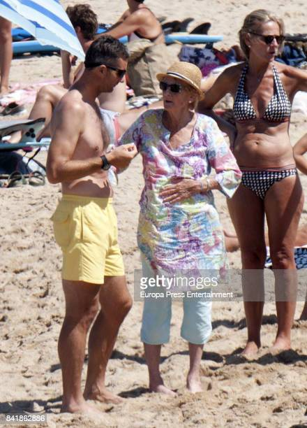 Inaki Urdangarin and his mother Claire Liebaert are seen on August 6 2017 in Bidart France