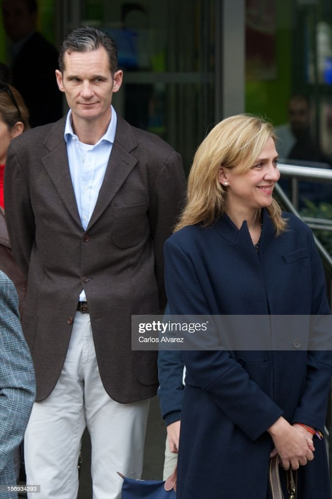 Inaki Urdangarin and his wife <a gi-track='captionPersonalityLinkClicked' href=/galleries/search?phrase=Princess+Cristina+of+Spain&family=editorial&specificpeople=160232 ng-click='$event.stopPropagation()'>Princess Cristina of Spain</a> visit King Juan Carlos of Spain at USP San Jose Hospital on November 25, 2012 in Madrid, Spain. King Juan Carlos of Spain underwent an operation on his left hip.