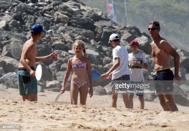 Part of this image has been pixellated to obscure the identity of the child Inaki Urdangarin and their kids Pablo Urdangarin Miguel Urdangarin and...