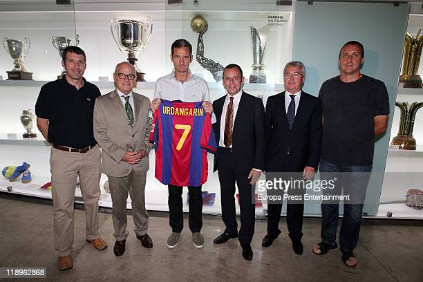 Inaki Urdangarin husband of Princess Cristina of Spain delivers to Sandro Rosell his handball shirt to Barcelona Museum on July 12 2011 in Barcelona...
