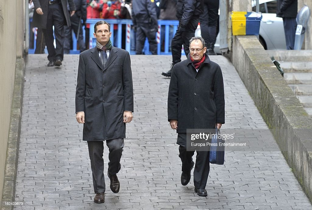 Inaki Urdangarin (L), Princess Cristina's husband, and his lawyer Mario Pascual Vives arrive at the courthouse of Palma de Mallorca to give evidence during the during the 'Palma Arena trial' on February 23, 2013 in Palma de Mallorca, Spain. The son-in-law of King Juan Carlos of Spain, Inaki Urdangarin, Duke of Palma will testify in court over allegations that he misused millions of euros of public funds, allocated to organise sports and tourism events, during his time a chairman of a non-profit foundation from 2004 to 2006. Public prosecutors suspect the non-profit foundation named 'Instituo Noos', headed by Urdangarin, of siphoning away funds from public contracts awarded to companies run by Urdangarin and his business partners.