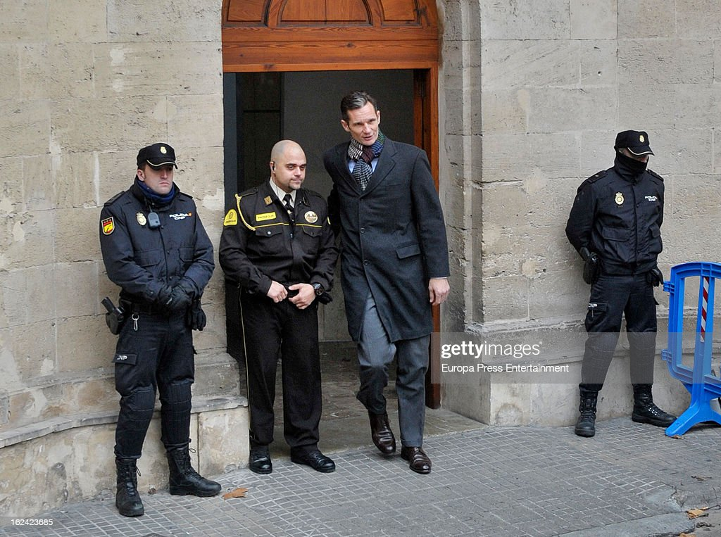 Inaki Urdangarin, Princess Cristina's husband, leaves at the courthouse of Palma de Mallorca to give evidence during the during the 'Palma Arena trial' on February 23, 2013 in Palma de Mallorca, Spain. The son-in-law of King Juan Carlos of Spain, Inaki Urdangarin, Duke of Palma will testify in court over allegations that he misused millions of euros of public funds, allocated to organise sports and tourism events, during his time a chairman of a non-profit foundation from 2004 to 2006. Public prosecutors suspect the non-profit foundation named 'Instituo Noos', headed by Urdangarin, of siphoning away funds from public contracts awarded to companies run by Urdangarin and his business partners.