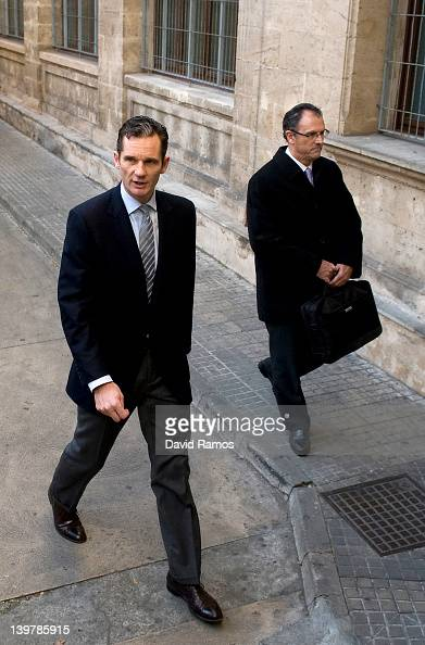 Inaki Urdangarin the husband of Princess Cristina and his lawyer Mario Pascual Vives arrive at the courthouse of Palma de Mallorca to give evidence...