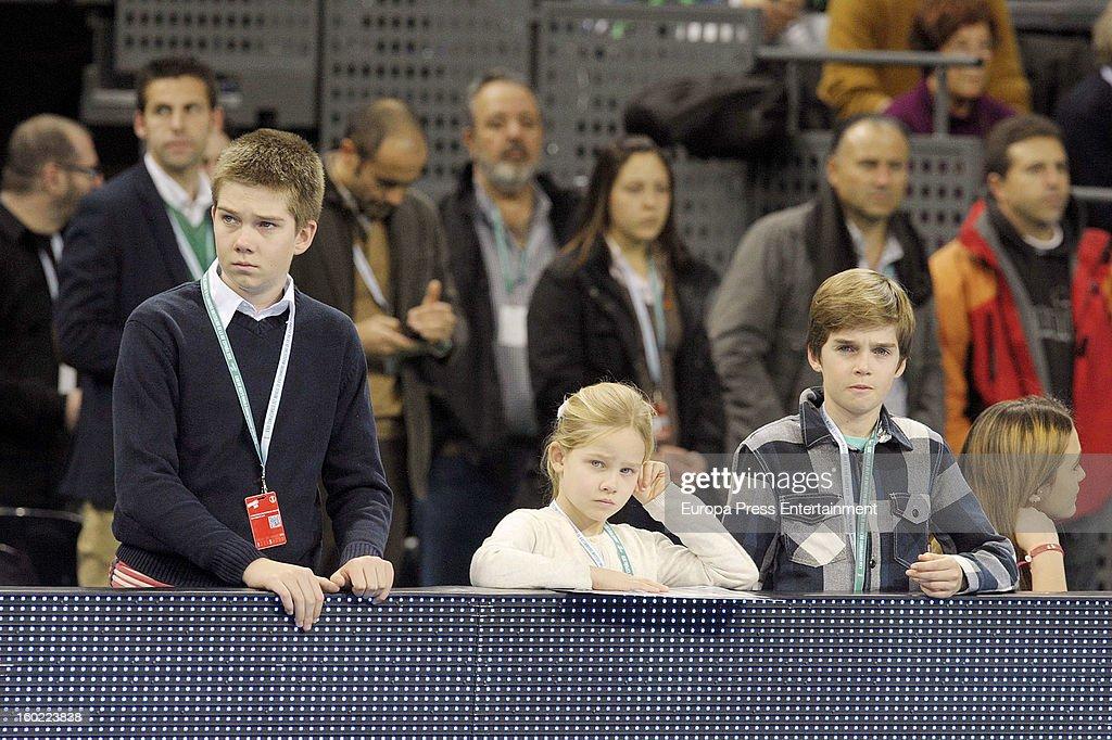 Inaki Urdangarin's kids Juan Valentin Urdangarin (L), Irene Urdangarin (C) and Miguel Urdangarín (R) attend the Men's Handball World Championship 2013 final match between Spain and Denmark at Palau Sant Jordi on January 27, 2013 in Barcelona, Spain.