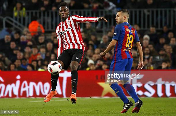 Inaki Williams and Jordi Alba during the King Cup match between FC Barcelona v Athletic Club Bilbao in Barcelona on January 11 2017
