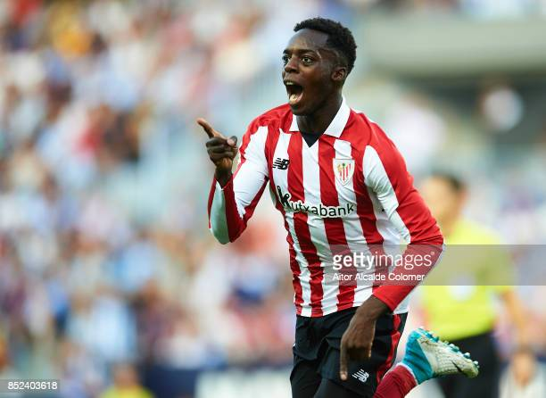 Inaki Williams celebrates after scoring during the La Liga match between Malaga and Athletic Club at Estadio La Rosaleda on September 23 2017 in...