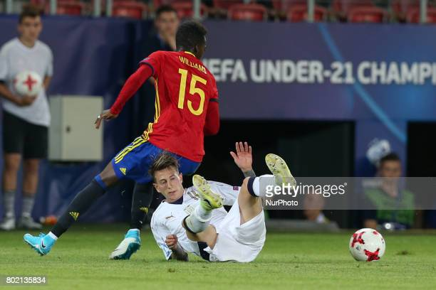 Inaki Williams Federico Bernardeschi during the UEFA European Under21 Championship Semi Final match between Spain and Italy at Krakow Stadium on June...
