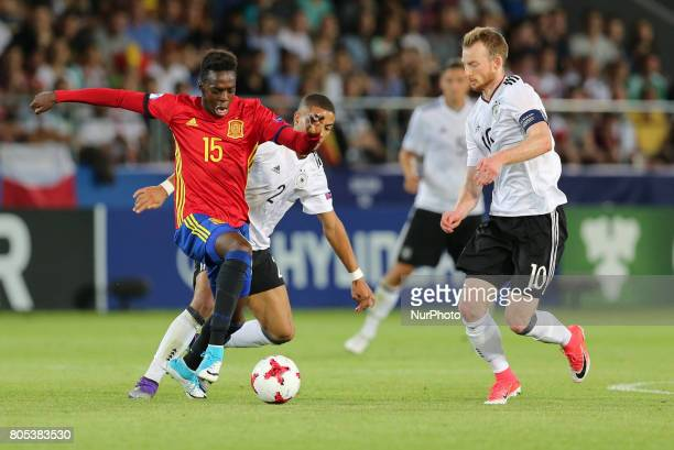 Inaki Williams Jeremy Toljan Maximilian Arnold during the UEFA U21 Final match between Germany and Spain at Krakow Stadium on June 30 2017 in Krakow...
