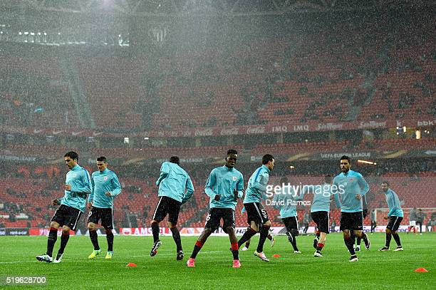 Inaki Williams of Athletic Club Bilbao takes part in the warmup with teammates before the UEFA Europa League quarter final first leg match between...