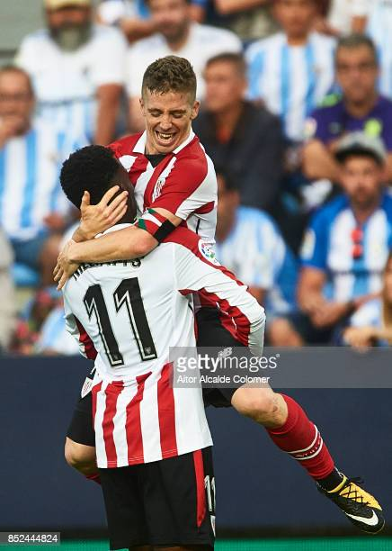 Inaki Williams of Athletic Club celebrates after scoring with Iker Muniain of Athletic Club the La Liga match between Malaga and Athletic Club at...
