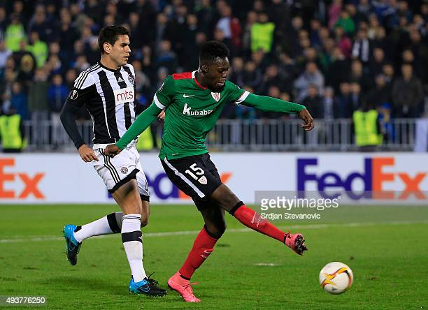 Inaki Williams of Athletic Club in action agaist Fabricio of FK Partizan during the UEFA Europa League match between FK Partizan v Athletic Club at...