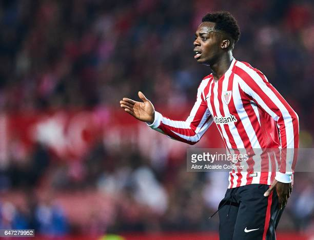 Inaki Williams of Athletic Club looks on during the La Liga match between Sevilla FC and Athletic Club de Bilbao at Estadio Ramon Sanchez Pizjuan on...