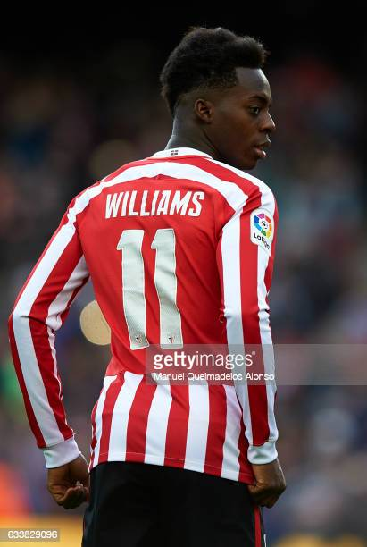 Inaki Williams of Athletic Club looks on prior to the La Liga match between FC Barcelona and Athletic Club at Camp Nou Stadium on February 4 2017 in...
