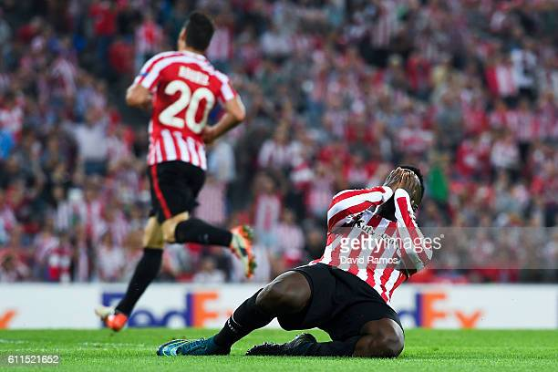 Inaki Williams of Athletic Club reacts after missing a chance to score during the UEFA Europa League Group F match between Athletic Club and SK Rapid...