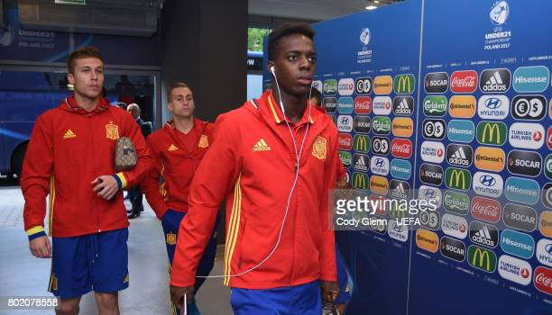 Inaki Williams of Spain and teammates arrive before their UEFA European Under21 Championship 2017 semifinal match against Italy on June 27 2017 in...