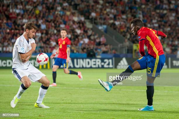 Inaki Williams of Spain kicks the ball during the UEFA European Under21 Championship SemiFinal match between Spain and Italy at Krakow Stadium in...