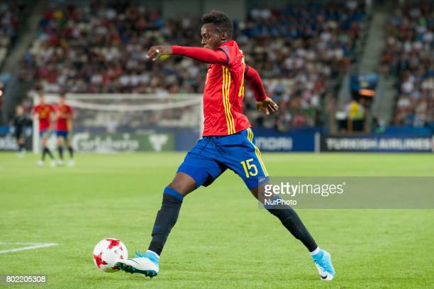 Inaki Williams of Spain pictured in action during the UEFA European Under21 Championship SemiFinal match between Spain and Italy at Krakow Stadium in...