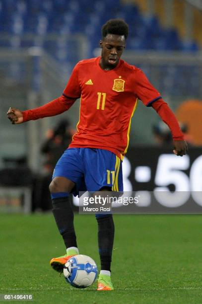 Inaki Williams of Spain U21 during the international friendly match between Italy U21 and Spain U21 at Olimpico Stadium on March 27 2017 in Rome Italy