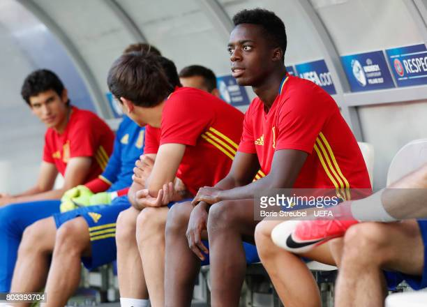 Inaki Williams sits on the bench prior to the MD1 training session of the U21 national team of Spain at Krakow stadium on June 29 2017 in Krakow...