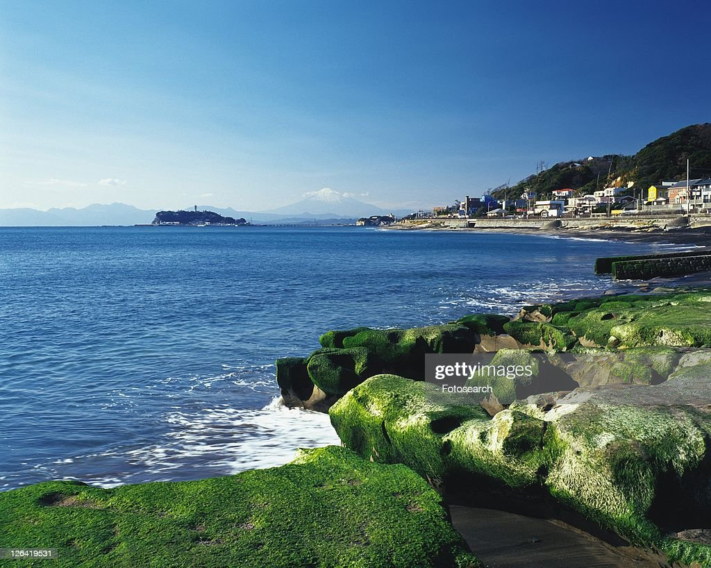 Inamuragasaki Cape, Shonan, Kanagawa Prefecture, Japan, High Angle View, Pan Focus