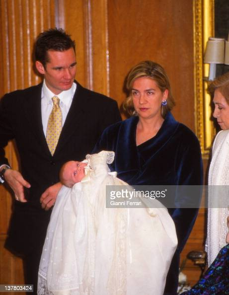 Inaqui Urdangarin and his wife the Infanta Cristina with their first son Juan Valentin and the Spanish Queen Sofia in the Zarzuela Palace 1st October...