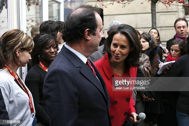 Inauguration By Segolene Royal And Francois Holland At The Socialist Party'S Headquarter For The Presidential Campaign In Paris France On January 22...