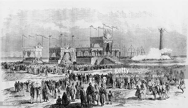 Inauguration of the Suez Canal with the Te Deum in the presence of the Austrian Emperor and the French Empress in Port Said November 17 engraving...