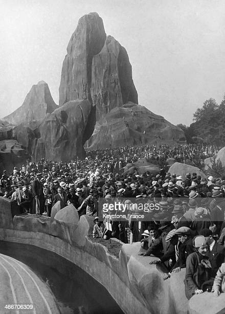 Inauguration of the Zoo de Vincennes by President Albert Lebrun and the big rock in the background on June 2 1934 in Paris France
