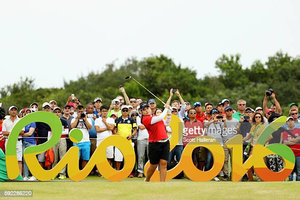 Inbee Park of Korea plays her shot from the 16th tee during the Women's Golf Final on Day 15 of the Rio 2016 Olympic Games at the Olympic Golf Course...