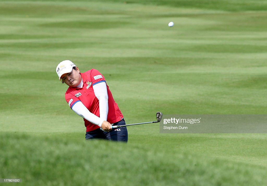 <a gi-track='captionPersonalityLinkClicked' href=/galleries/search?phrase=Inbee+Park&family=editorial&specificpeople=4532692 ng-click='$event.stopPropagation()'>Inbee Park</a> of Sough Korea hits her second shot on the sixth hole during the third round of the CN Canadian Women's Open at Royal Mayfair Golf Club on August 24, 2013 in Edmonton, Alberta, Canada.