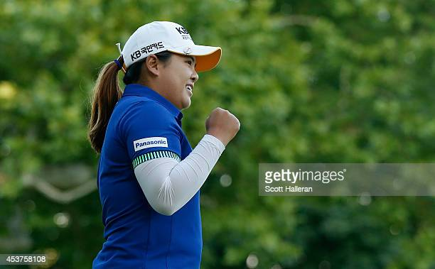 Inbee Park of South Korea celebrates after defeating Brittany Lincicome on the first playoff hole during Wegmans LPGA Championship at Monroe Golf...