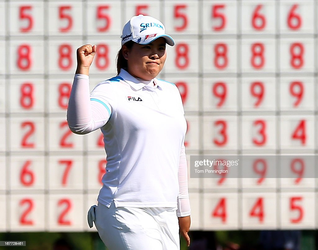 Inbee Park of South Korea celebrates after sinking a birdie putt during the final round to win the 2013 North Texas LPGA Shootout at the Las Colinas Counrty Club on April 28, 2013 in Irving, Texas.