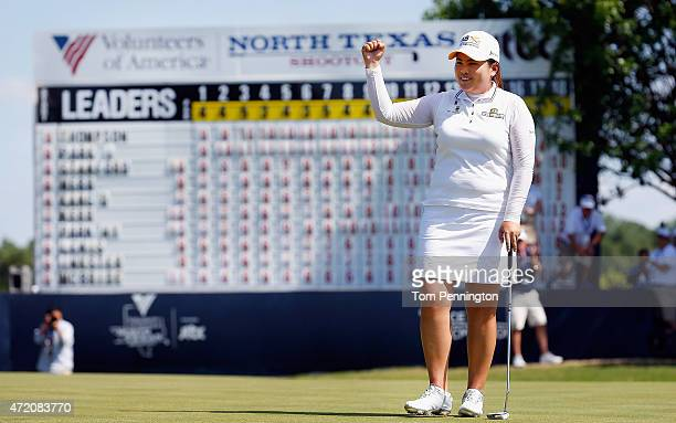 Inbee Park of South Korea celebrates after tapping in the winning putt during the Final Round of the 2015 Volunteers of America North Texas Shootout...