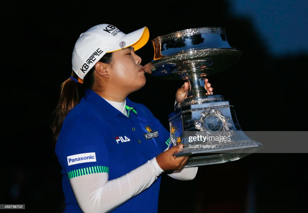 <a gi-track='captionPersonalityLinkClicked' href=/galleries/search?phrase=Inbee+Park&family=editorial&specificpeople=4532692 ng-click='$event.stopPropagation()'>Inbee Park</a> of South Korea celebrates with the trophy after winning theWegmans LPGA Championship at Monroe Golf Club on August 17, 2014 in Pittsford, New York.