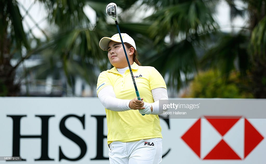 <a gi-track='captionPersonalityLinkClicked' href=/galleries/search?phrase=Inbee+Park&family=editorial&specificpeople=4532692 ng-click='$event.stopPropagation()'>Inbee Park</a> of South Korea hits a shot during a practice round prior to the start of the HSBC Women's Champions at the Sentosa Golf Club on February 26, 2013 in Singapore, Singapore.